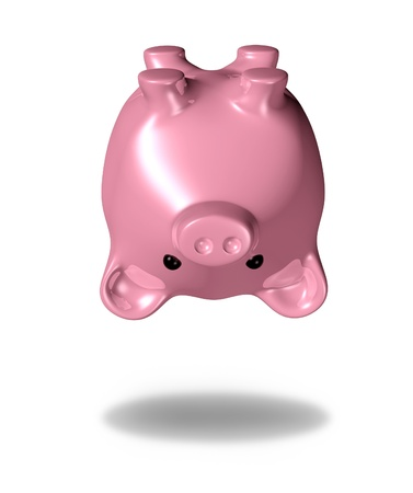 Empty piggybank representing financial problems with spending and credit habitsresulting in bankruptcy. photo