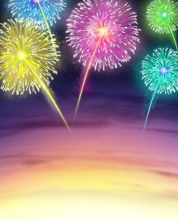 4th: Firework Display with sunset sky in Celebration represented by exploding sparks of color on a night sky usually found on fourth of July and independance day also carnival celebrations.