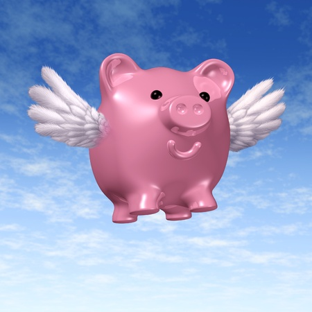 interest rates: Flying piggybank pig with wings representing rising savings and increasing interest payments as a result of increased interest rates.