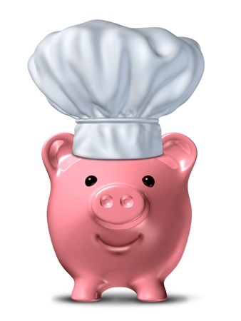 dinners: Cheap food and inexpensive meals symbol representing food savings and going to restaurants that serve low priced dinners represented by a cooking hat and a pink piggy bank.