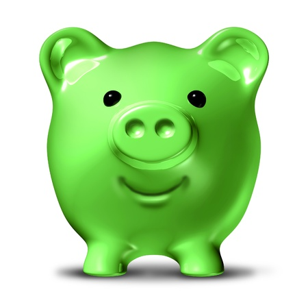 cost reduction: Green economy representing the concept of saving money by conservation and recycling waste and pollution resulting in energy costs reduction and fuel savings symbolized by a happy piggy bank.