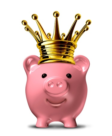 frugal: Best way to save symbol of finance represented by a pink piggy bank with a gold crown representing the safest and most profitable economic strategies for business and home.
