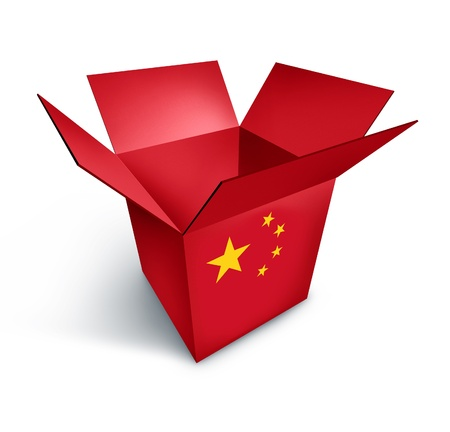 made in china: China made goods box re[presenting the economy and Asia investment trade symbol isolated on white.