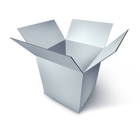 Opene box representing the symbol of opportunity and new start made of white b lank cardboard. Stock Photo - 10892071
