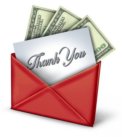 Thank you payment in red envelope. Stock Photo - 10909899