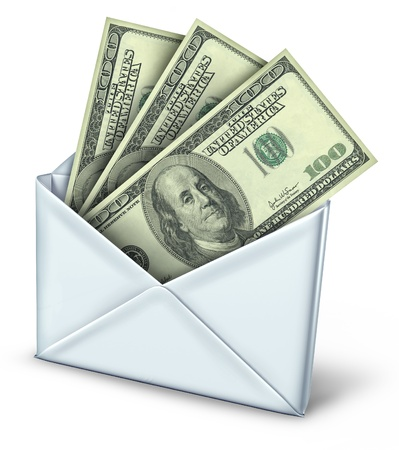 rebate: Mail in rebate in white envelope with money payment of refund inside.
