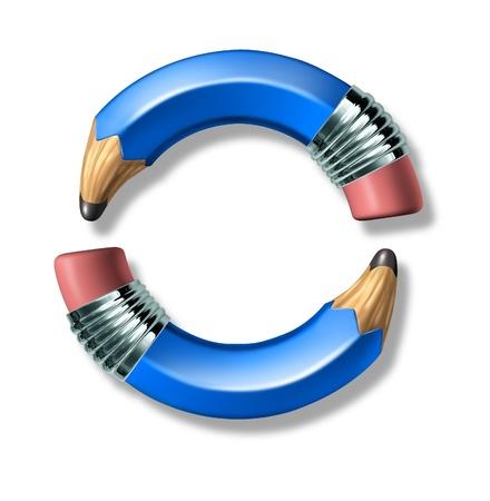 파란 연필 라운드 프레임 로고는 교육의 개념과 예술적 쓰기와 그리기의 자유를 나타내는 흰색 배경에 고립.