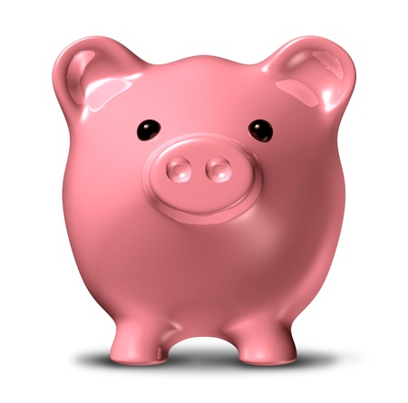 frugality: Piggy bank in a front view representing the concept of long term savings and financial planning of investments. Stock Photo