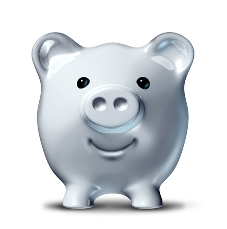 frugal: Smiling and happy piggy bank in a front view representing the concept of succesful long term savings and financial planning of investments.