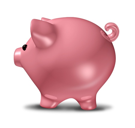 Pink piggy bank representing savings and frugality related to credit issues and investments isolated on white. Stock Photo - 10892058