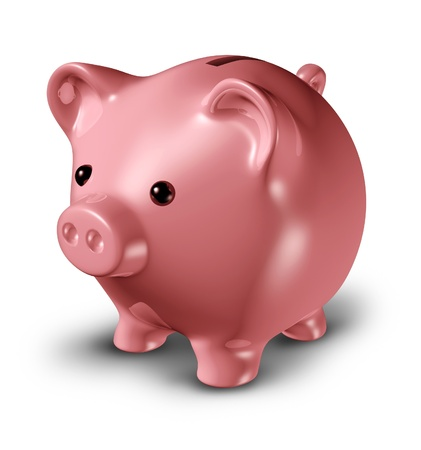 frugality: Pink piggy bank representing savings and frugality related to credit issues and investments isolated on white.