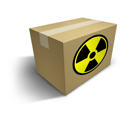radioactive: Shipping radioactive material symbol representing the dangers of nuclear waste and toxic contents being shipped represented by a cardboard box with a hazard sign.