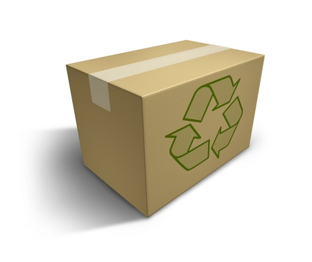 Recycle symbol on a fragile cardboard box representing recycling and responsible green conservation habits. photo