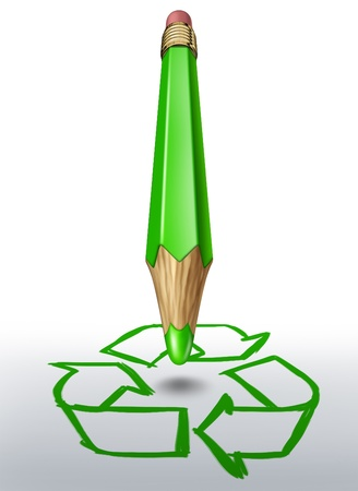forced perspective: Green pencil writing recycling symbol representing conservation and eco freindly craftmanship isolated on a white background.