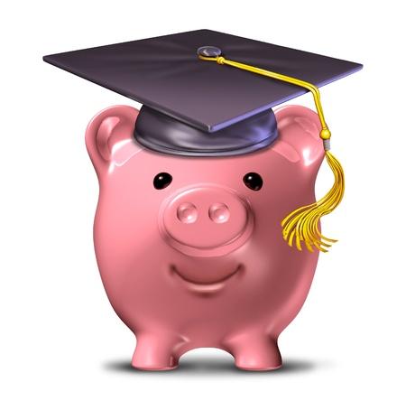 fondos negocios: Ahorrar para la educaci�n representada por un casquillo de la graduaci�n y el birrete de la escuela en un ahorro de alcanc�a de color rosa.