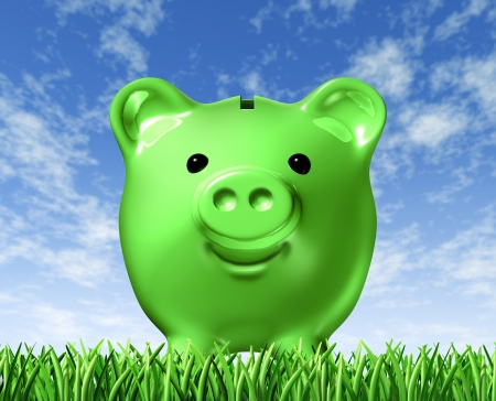 Green savings representing the concept of saving money with environmentaly friendly recycling and fuel efficiencies using alternative power like solar and wind to reduce the price of energy consumption. Stock Photo - 10892125
