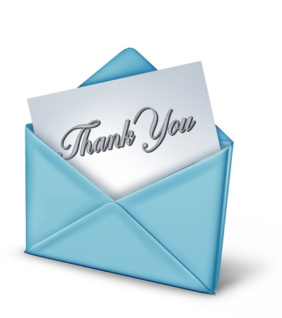 Thank you note in a blue envelope representing gratitude and appreciation for a friendly act from family and great helpful long time friends. Stock Photo - 10892088