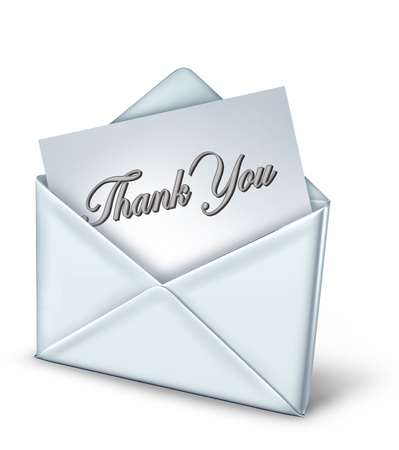 Thank you note in a white envelope representing gratitude and appreciation. photo