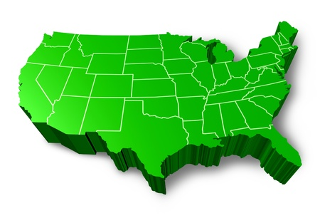 usa map: U.S.A 3D map symbol represented by a green dimensional United States.