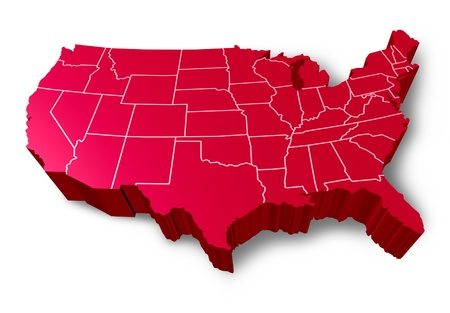 represented: U.S.A 3D map symbol represented by a red dimensional United States.