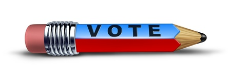 Vote and voting pencil symbol representing the concept of democracy with a political election decision making tool. Stock Photo - 10892061