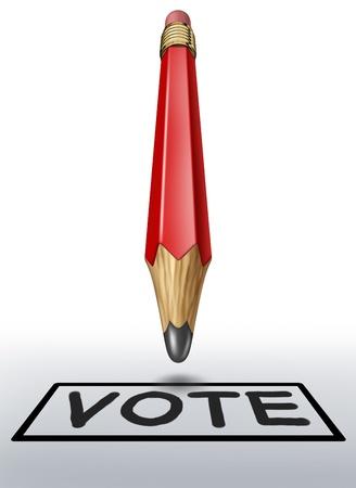 democracia: Votación símbolo con lápiz rojo que representa la importancia de la democracia y las elecciones para los gobiernos municipales estatales y federales.