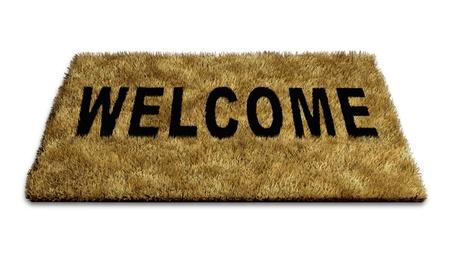 new thinking: Benvenuti carpet mat isolato su bianco che rappresenta il concetto di accogliere nuove idee e persone in una casa o di lavoro e anche che simboleggia il concetto di politica di porte aperte verso il pensiero creativo. Archivio Fotografico