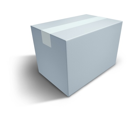 White box with blank  packaging representing the concept of delivering a package that is sealed.