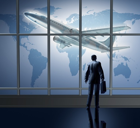 business airport: Business traveling international represented by an airplane airport departure waiting at the terminal lounge represented by a businessman standing with a breifcase in front of large glass windows looking at a global map of the world.