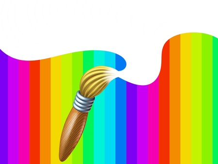 Art brush with rainbow with white blank area featuring a paintbrush with a splash at the tip of the bristles splashing in a swirl on a multi color background representing the concept of creativity and educational arts and crafts for children and artist sc Stock Photo