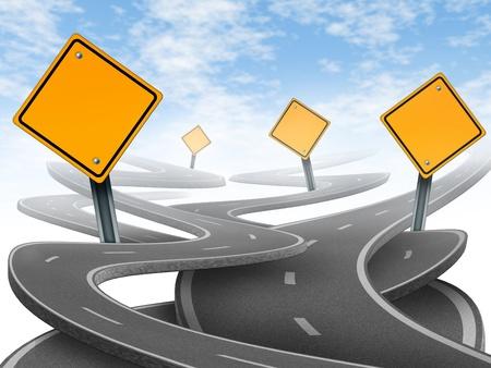 cruce de caminos: Direcciones y la confusi�n que representa el dilema y el concepto de elegir el camino estrat�gico correcto para el negocio despu�s de la planificaci�n de su futuro representado por blanco las se�ales de tr�fico amarillo caminos y carreteras enredado en una direcci�n confusa. Foto de archivo