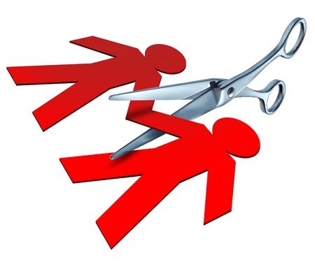 separation: Divorce and separation represented by a pair of metal scissors cutting into a red paper cut out of a couple of people representing the break up and cutting the ties of an ending relationship between a husband and a wife.