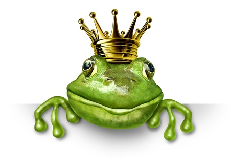 anthropomorphic: Frog prince with small gold crown holding a blank sign representing the fairy tale concept of change and transformation from an amphibian to royalty.