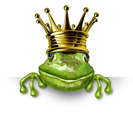 Frog prince with gold crown holding a blank sign representing the fairy tale concept of change and transformation from an amphibian to royalty. Stockfoto