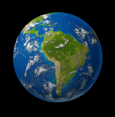 South America earth globe planet on black space background featuring america and latin american countries surrounded by blue ocean and clouds.