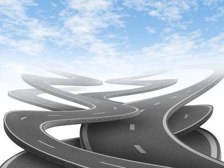 complicación: Estrategia y la elecci�n que representa el dilema y el concepto de elegir el camino estrat�gico correcto en la vida y en los negocios despu�s de la planificaci�n de su futuro representado por los caminos y carreteras enredado en una direcci�n confusa.