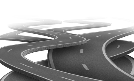 business dilemma: Uncertain path and future Strategy and choice representing dilemma and concept of choosing the right strategic path for business after planning represented by tangled roads and highways in a confused direction. Stock Photo