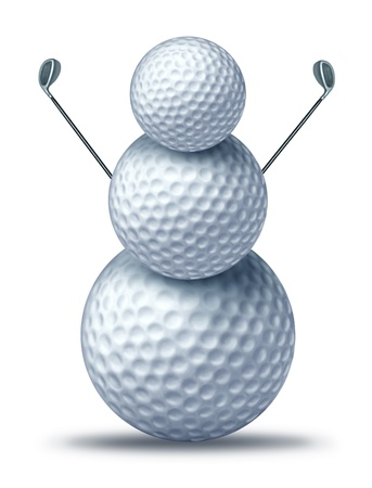 golf tournament: Winter golf symbol represented by golf balls placed to look like a snow man or snowman holding driver golf clubs showing winter holiday activities for seasonal sports leisure vacation at a resort. Stock Photo