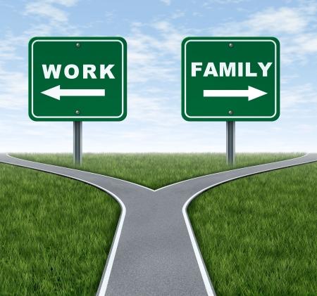 cruce de caminos: Trabajo o familia símbolo que representa la elección de vida importante de criar una familia y pasar tiempo en casa o trabajar en un negocio para hacer dinero con el tráfico de cruce señales sobre césped verde y el cielo.