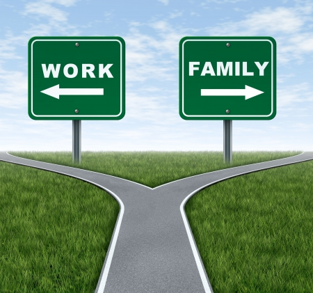 priorities: Work or family symbol representing the important life choice of raising a family and spending time at home or working at a business to make money with crossroad traffic signs on green grass and sky. Stock Photo