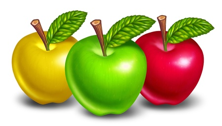 Apples of different types and colors with green fruit in front and natures yellow and red treats in the background. Stock Photo - 10909944