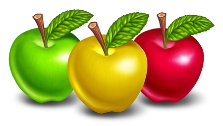 Apples of different types and colors with yellow fruit in front and natures green and red treats in the background. Stock Photo - 10909942