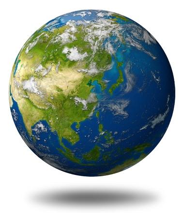 푸른 바다와 흰색에 고립 된 구름에 둘러싸인 중국 일본 한국, 인도 등 아시아 대륙을 갖춘 지구 모델 행성. 스톡 콘텐츠