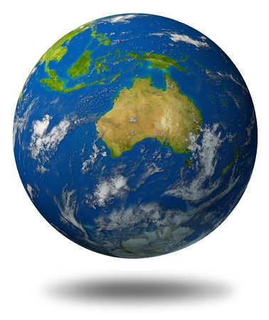 featuring: Earth model planet featuring The continent of Australia surrounded by blue ocean and clouds isolated on white.