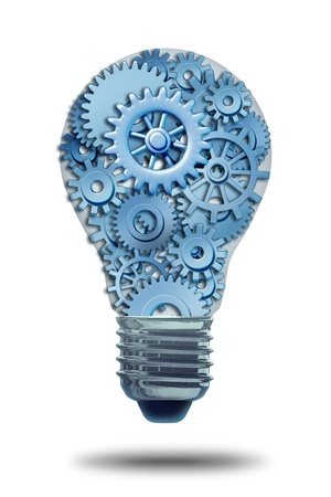 team strategy: Business ideas and concepts featuring a light bulb with gears and cogs working together as a team representing teamwork and financial planning and strategy isolated on white with a shadow.