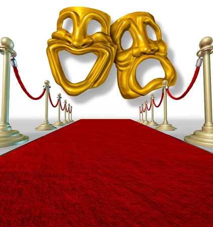 Theater stage with gold comedy and tragedy symbol with brass dividers on rich red carpet. photo