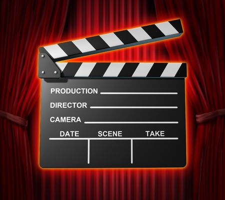 acting: Black clapperboard movies symbol represented by a film slate on red curtain drapes background.