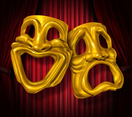 Theater stage with gold comedy and tragedy symbol on red velvet cinema curtain drapes.