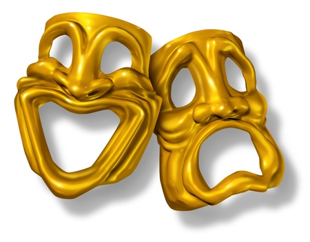 tragedy: Comedy and tragedy masks symbol represented by two theatrical expressions with one face smiling and happy and another feeling sad and unhappy.