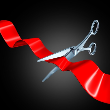breaking new ground: Ribbon cutting with black background representing a inaugural ceremony. Stock Photo